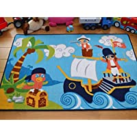 Kids Non Slip Machine Washable Pirates Play Mat. Available in 3 Sizes