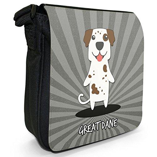 Tedesco Cartoon cani piccola borsa a tracolla tela nera, misura piccola Great Dane, Gentle Giant