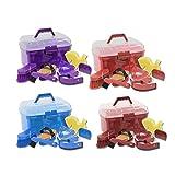 Putzbox Putzkiste Putzkoffen für Kinder inklusive Kardätsche, Wurzelbürste, Mähnenkamm, Hufkratzer, Herzchenstriegel, Mini-Schweißmesser und Pferdchenschwamm
