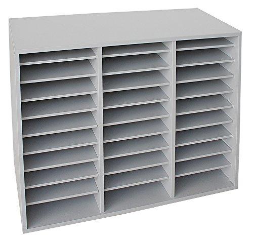 Fächerschrank mit 30 Fächern Sortierschrank Sortierablage Büroschrank Büromöbel (Lichtgrau)