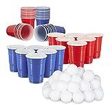 148 tlg. Beer Pong Set, 50 Rote Trinkbecher, 50 Blaue Becher, 48 Beer Pong Bälle, Plastik, Trinkspiel, rot/blau/weiß