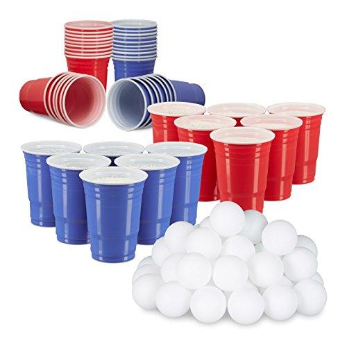 et, 50 rote Trinkbecher, 50 Blaue Becher, 48 Beer Pong Bälle, Plastik, Trinkspiel, rot/blau/weiß ()