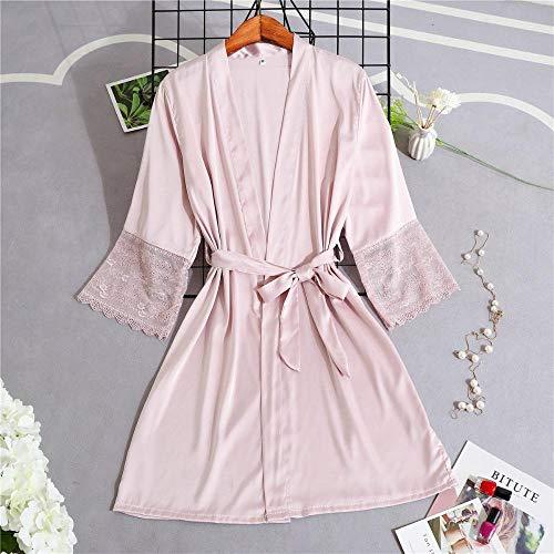 Home + Bathrobe Frauen Silk Satin Short Night Robe Solide Kimono Robe Sexy Spitzenbesatz Bademantel Braut Brautjungfer Robe Mode Bademantel @ XXL_Pink -