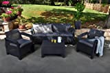 Keter 17194275 GR Corfu 5-Seater Lounge Set with Cream Cushions - Graphite/Black
