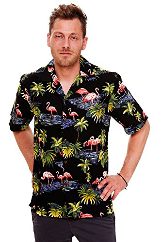PLA-Original-Camisa-Hawaiana-Flamingo-negro-4XL
