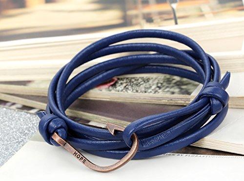 Flongo Bracelet Alliage Cuir Leather Corde Lien Poignet Hameçon HOPE Punk Fantaisie Bijoux Cadeau Multi-Couleur pour Femme Homme Bleu