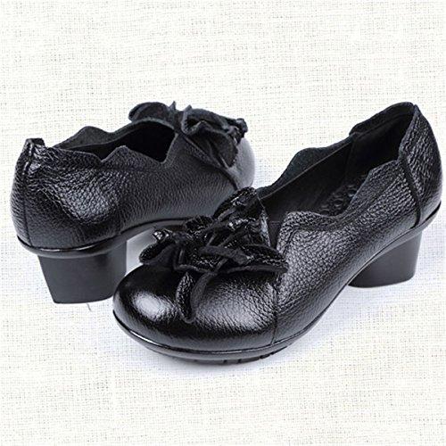 Socofy Mocassins Femme, Chaussures de Ville en Cuir à Fleurs Escarpin à Talon Moyen Style Vintage - Printemps Eté - Noires Rouges (Grille de Poiture à Voir) Noir - Style 2