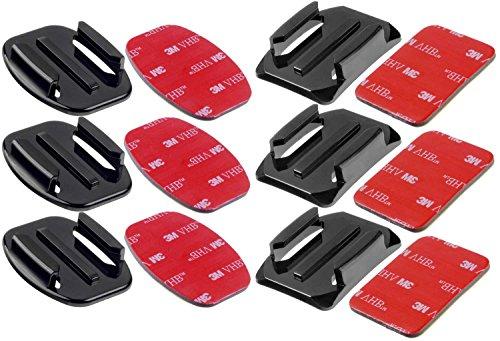 yayago 6er Set Flat + Curved Mount mit 3M VHB Adhesive Sticker geeignet für Rollei Actioncam 415