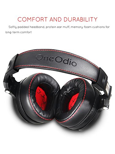OneOdio Adapter-free Closed-Back DJ Studio Headphones for Monitoring and Mixing, Deep Bass, Protein Leather Earcups, Noise Isolation, 90° Rotatable Housing, Portable Over Ear Stereo Headphones (Upgraded Version)