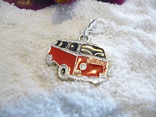 La Perla di SaWi Charm Bus Bulli Reise Urlaub Silber Rot Anhänger SaWi (Reise-silber Charms)