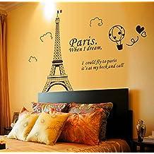 Torre Eiffel imagen para pared casa papel adhesivo extraíble Living comedor dormitorio Cocina murales arte imagen DIY Stick Niñas Niños Kids Nursery Baby sala de juegos decoración