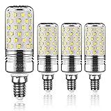 Yiizon LED Mais Glühbirne, E14, 15W, entspricht 120 W Glühlampe, 6000 K Kaltweiß, 1500LM, CRI>80 +, kleine Edison-Schraube, nicht dimmbar Kandelaber LED Glühlampen(4 PCS)