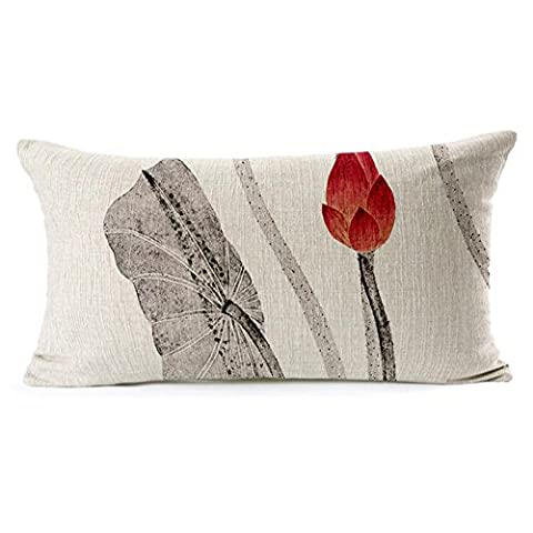 coolsummer style chinois peinture Lotus d'encre élégant motif épaissir coton lin carré décoratif taie d'oreiller Fashion Couvre-lit 45,7x 45,7cm 30x 49,8cm, UKSH008B3, 11.8x19.6inches/30 cm x 50 cm