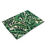 YUANLINGWEI Regenwald Küche Abendessen Tischsets Baumwolle Tabelle Napkinp Pflanze Blatt Muster Dekorative Tischsets Cup Pad 4 Stück (42 X 32 cm),1