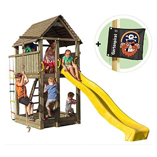 Preisvergleich Produktbild Spielturm Piratenfestung aus Kantholz 9x9 mit Kletterwand und Rutsche von Gartenpirat®