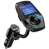 """Mpow Transmetteur FM Bluetooth Voiture Adaptateur Radio Kit Bluetooth Voiture Main Libre sans Fil Chargeur Allume-Cigare avec Double Port USB 3,5mm Audio Port Ecran de 1,44"""" Support Carte SD/Clé USB"""
