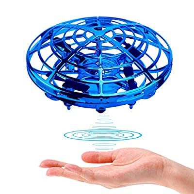 Drone Hand Control, UFO Mini Drone, Interactive Infrared Induction Helicopter with 360° Rotating and Shinning LED Lights Flying Aircraft Games Gifts for Boys Girls Adults Indoor Outdoor Garden Toys