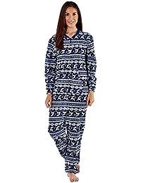 Damen Fleece Stücke Damen Einteiler Nachtwäsche Pyjama Overall Schlafanzug