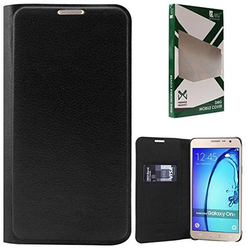 DMG Samsung Galaxy On7 Pro Flip Cover, Premium PU Leather Wallet Flip Cover for Samsung Galaxy On7 / On7 Pro (Black)