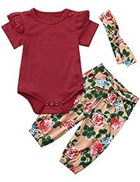 PAOLIAN Conjuntos para Bebe Niñas Verano Recién Nacidos 2019 Monoss Peleles Manga Corta Pantalones Vestido Tirantes