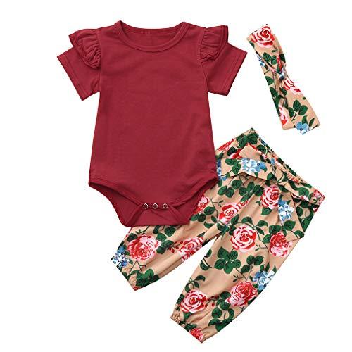 Jiackey Neonata Falbala Solido Pagliaccetto Body Tutine Cime e Bowknot Floreali Pantaloni 3pcs Bambina Completini