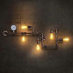 Lingkai Lámpara de pared retro industrial de la pipa de agua del metal de la vendimia con cinco fuentes de luz de Edison Lámpara de pared de la pared de Steampunk con el final de cobre