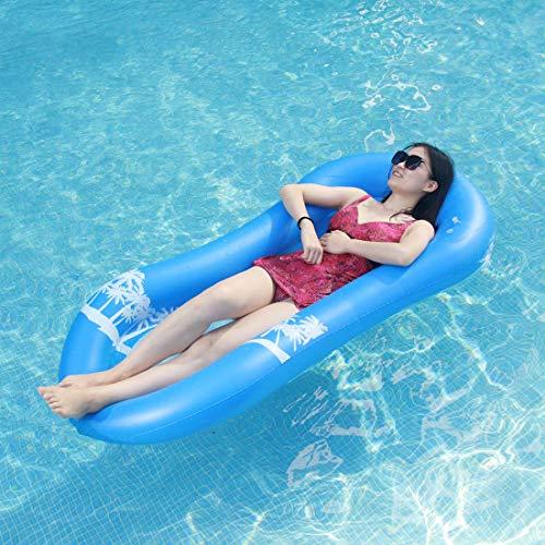 Myir Pool Hängematte mit Mesh, Aufblasbare Wasserhängematte luftmatratzen Liege Wasser Bett Floating Lounge Stuhl Schwimmbad Aufblasbarer Spielzeug für Erwachsene (Wasserhängematte Blau) -