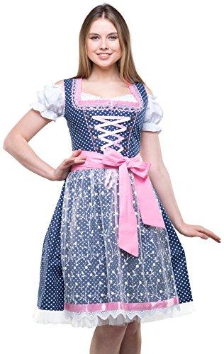 Bavarian Clothes Dirndl Trachtenkleid DUNKELBLAU BLAU/ROSA 3.TLG 6020 Gr. 46