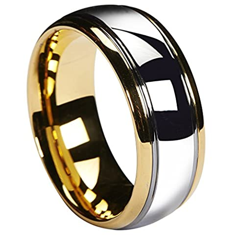 Queenwish 8mm Tungsten Carbide Wedding Band Gold Silver Dome Gunmetal Bridal Ring Men Jewellry