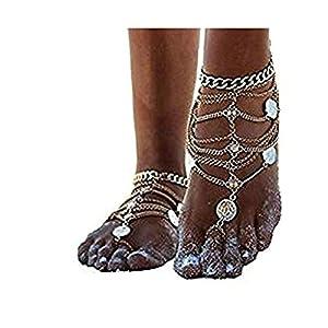 Adisaer Fußkette Damen 1 Stück Multi Panzerkette mit Runde Anhänger Fußkettchen Gold Für Frauen Zehenring Knöchelkette Strand Fuss-Schmuck