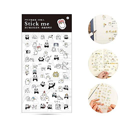 Aolvo Ephemera-Set mit 60 Aufklebern, Kawaii japanischer Stil, dekorativ, für Sammelalben, Kalender, Kunst, Bastelarbeiten, Kinder, 19 x 9,5 x 0,5 cm Panda and Duck -