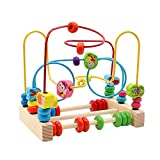 yoptote Wooden Bead Maze Toy Bead Roller Coaster Colorful Abacus Circle Classic Toy For Kids Up 3 Years Old