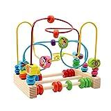Yoptote Holzspielzeug Perlen-Labyrinth Roller Coaster Spiel Motorikschleife aus Holz Für Kinder ab 3 Jahren (Insect Beads Maze)