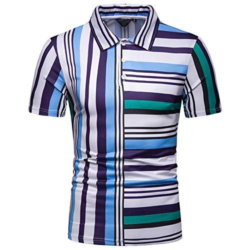 XJWDTX New Summer Herren Persönlichkeit Kurzärmeliges Polo-Shirt Herren Kontrastfarbe Gestreiften Schmalen Revers Casual T-Shirt