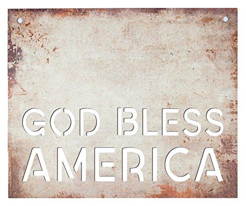 P. Graham Dunn God Bless America Stahl Metall Look 19x 16Holz Schablone Wandschild (Schablonen Für Wand-plaques)