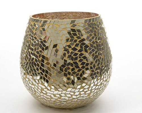 Gold Colour Mosaic Glass Hurricane Candle Holder 15cm