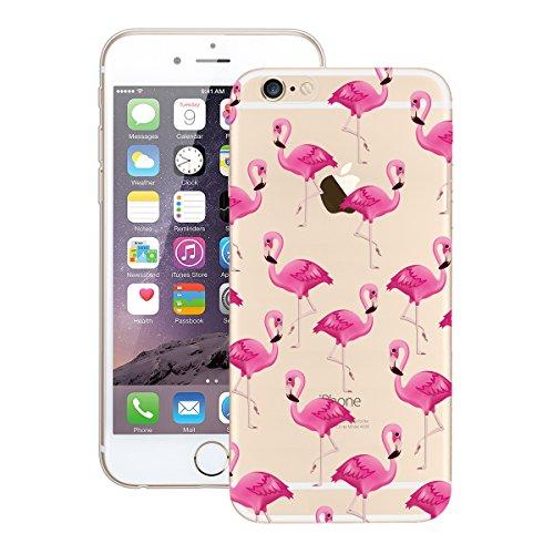 GrandEver iPhone 6/iPhone 6S(4.7 Zoll) Weiche Silikon Hülle Gel TPU Bumper Transparent Schutzhülle mit Muster Rückschale Klar Handytasche Anti-Kratzer Stoßdämpfung Ultra Slim Rückseite Silicon Backcov Flamingos