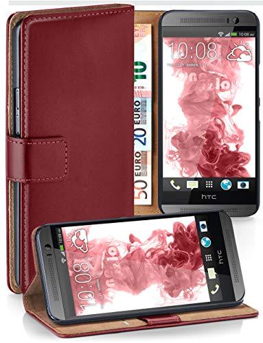 moex® Booklet mit Flip Funktion [360 Grad Voll-Schutz] für HTC One M8   Geldfach und Kartenfach + Stand-Funktion und Magnet-Verschluss, Dunkel-Rot (One Für Handy-geldbörse Htc)