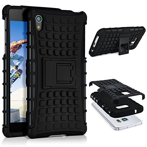 ONEFLOW Sony Xperia Z2 | Hülle Silikon Hard-Case Schwarz Outdoor Back-Cover Extrem Stoßfest Schutzhülle Grip Handyhülle für Sony Xperia Z2 Case Rückseite Tasche