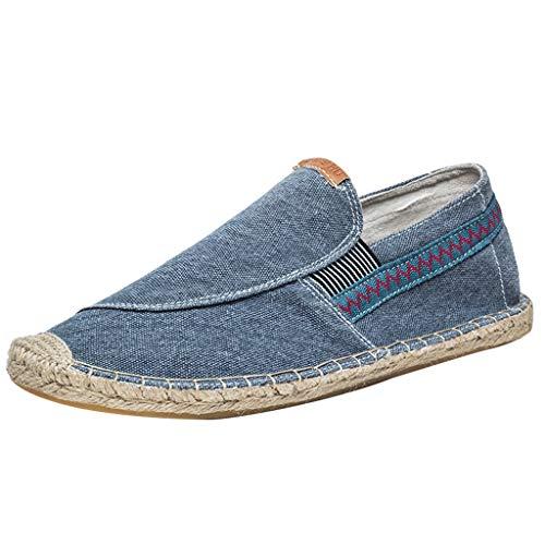 Scarpe da barca Slip on Deck Scarpe Mocassino Vintage Flat Durable Casual Mocassini Moda antiscivolo Flat Canvas Shoes Uomo or Donna (42 EU,Blu)