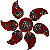 Handmade Elegantly Designed Red Rangoli - With Keri Shaped Design Decorated With Multicolour Stones And Beads On Red Round Square Shaped Plastic Base - 7 Pieces Set - Packed In Transparent Pouch - B075LC26NW
