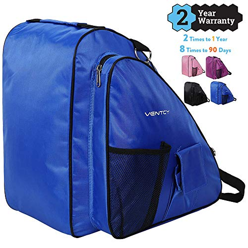 VENTCY Skischuhtasche Schlittschuhe Tasche Tasche Schlittschuhe Eislauf Rollschuhetasche Kinder Skifahren Nylon Rollschuhe Tasche mit Rucksackfunktion Wasserabweisend (1- Blau)