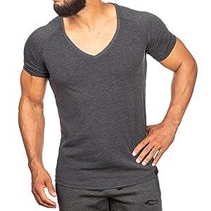 SMILODOX T-Shirt Herren mit V-Ausschnitt | Basic V-Neck für Sport Fitness Gym & Freizeit | Regular T-Shirt Kurzarm – Schlichtes Design – Leichtes Casual Shirt