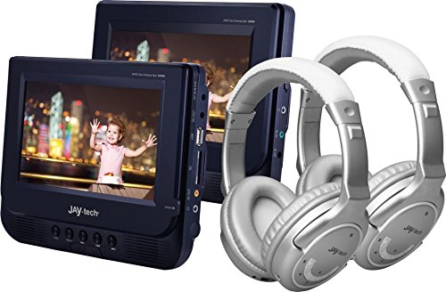 Jay-Tech 728K Kopfstützen Car Cinema Set 2 x 7 (17,78cm) Zoll DVD Player + 2 x Bluetooth Kopfhörer - Video Player fürs Auto - TFT LCD Monitore