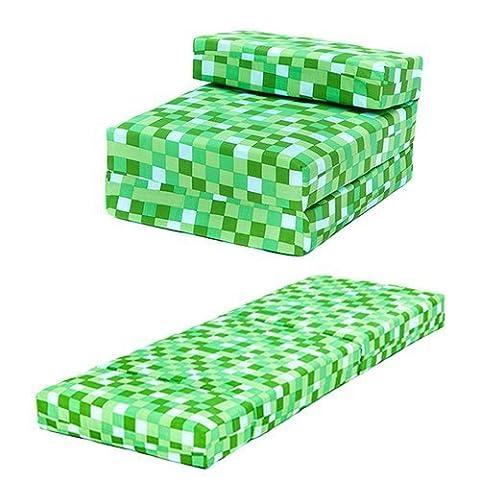 Green Pixels Design Single Foam Fold Out Z Bed Chair Guest Mattress Sleepover