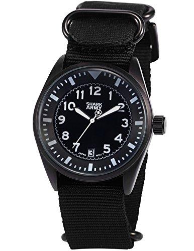 SHARK ARMY Herren Armbanduhr Analog Quarz Datum Anzeige Milit?r Nylon Band SAW105