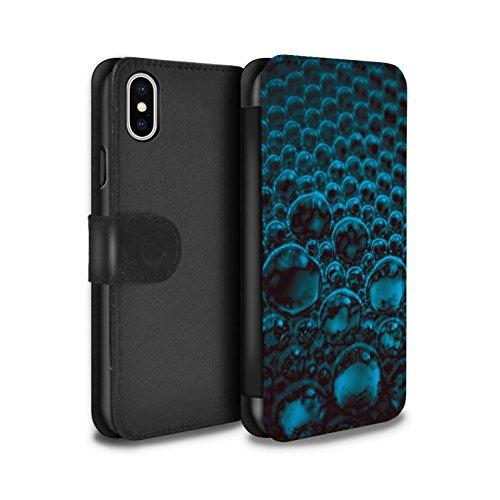 Stuff4 Coque/Etui/Housse Cuir PU Case/Cover pour Apple iPhone X/10 / Bleu Design / Bulles/Gouttelettes Collection Bleu