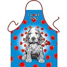 Hund Dog Chien Cane I Love You - Fun Motiv Schürze - mit Gratis-Urkunde