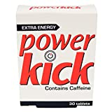 Power Kick Caffeine Tablets 30 pack Extra Energy Caffeine and Glucose Food Supplement