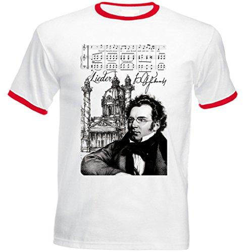 Teesquare1st Men's FRANZ SCHUBERT COMPOSER Red Ringer T-shirt
